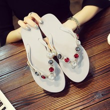 2018 new product ladies flat flash drilling rubber summer slipper TPR soles