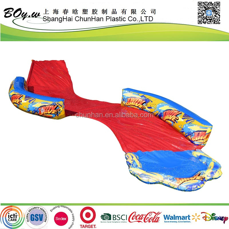 Gold supplier OEM testing spring & summer toys banzai 16ft-Long inflatable body board twin curve Water Slide