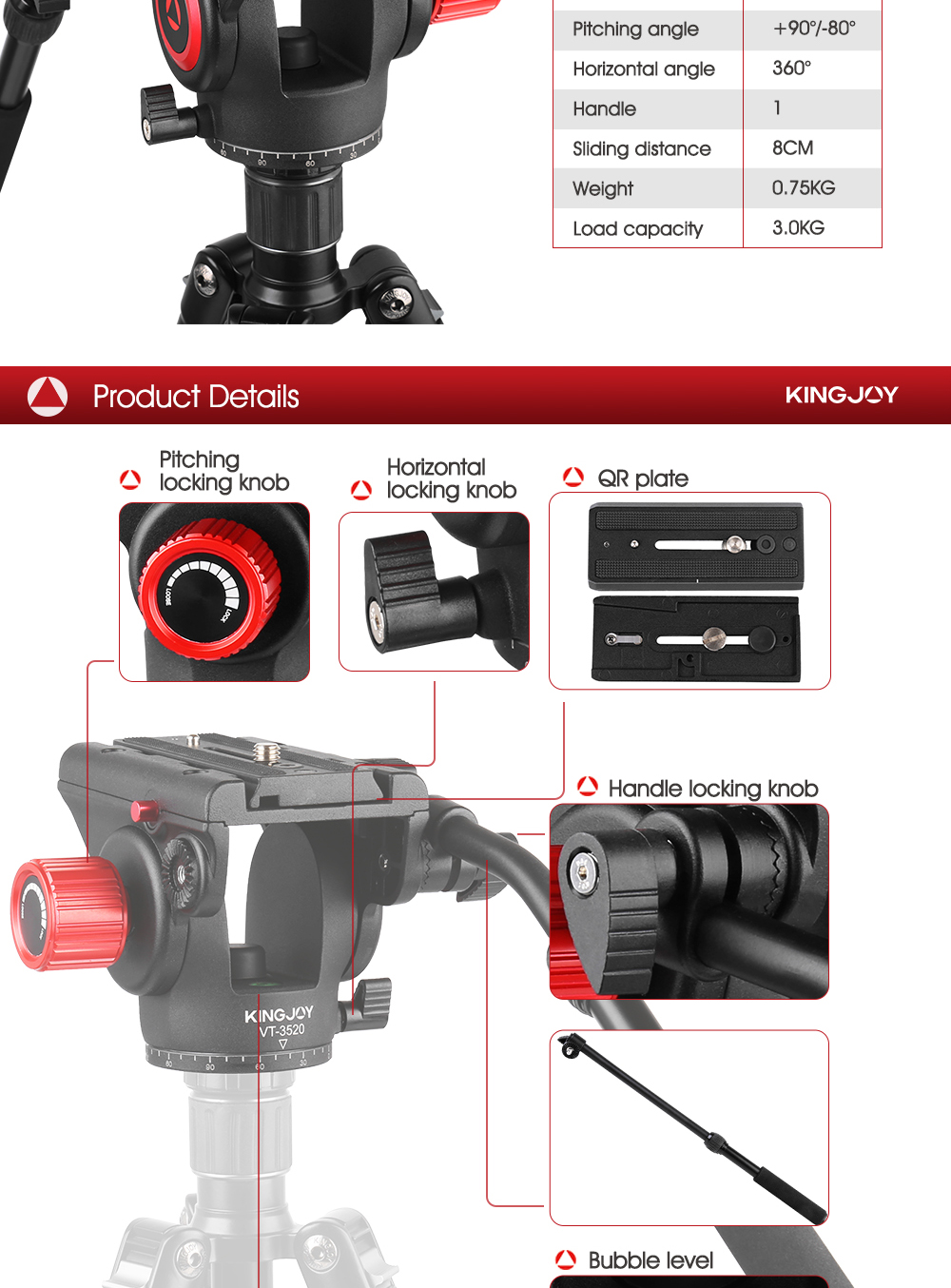 Kingjoy 2019 Manufacture Pro Mounted Panoramic Aluminum Fluid Camera Video Tripod Head