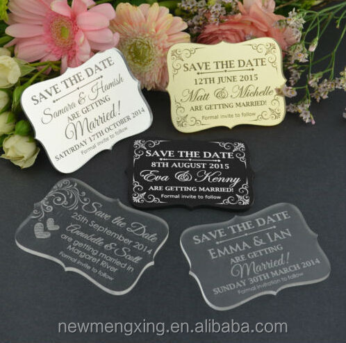 Laser cut Wedding Invitation Engraved Acrylic Save the Date Thank you card