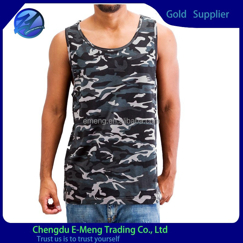 Wholesale top quality 2015 new design mens tank top with camo print