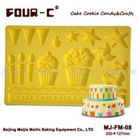 3D kids party silicone gum paste mold,fondant mold