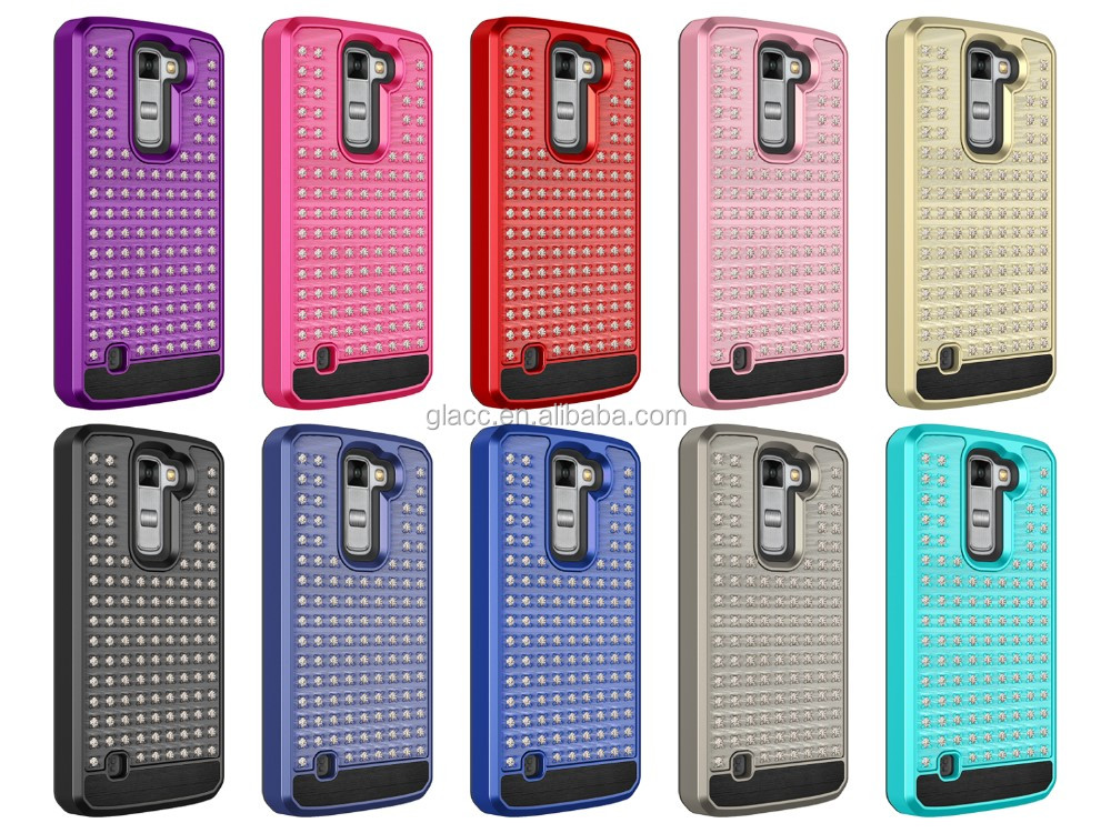 Hybrid 2 in 1 TPU& PC hard Plastic Bling Diamond Crystal Rhinestone Case Cover For LG Stylus 2 Plus MS550/Stylo 2/LS775
