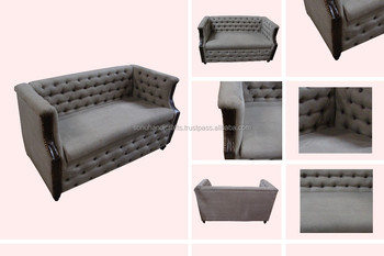 LEATHER CANVAS SOFA THREE SEATER
