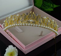 fashion metal gold crystal pageant custom Crowns and Tiaras for Bridal hair jewelry