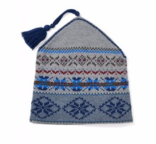 WOMEN'S 50% MERINO WOOL/50% COTTON KNITTED SKI HAT IN FAIRISLE PATTERN