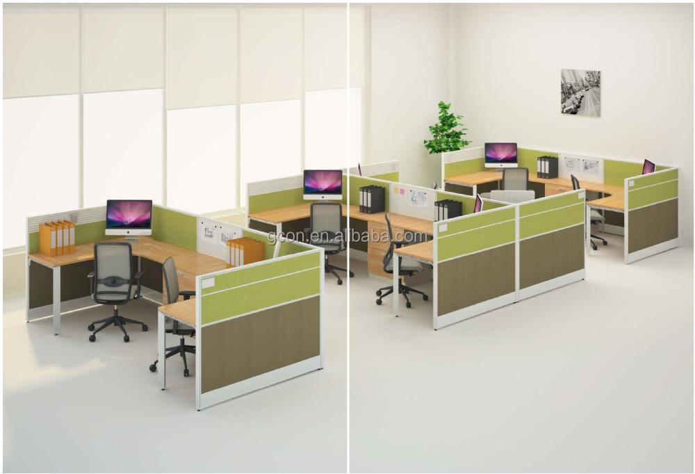 Wood Modern Half Open Office Partition Workstation, View modern ...