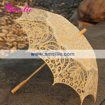 33 in Luxury Gold Color Lace Parasol
