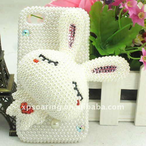 for iphone 4 4g rabbit pearl diamond skin case cover