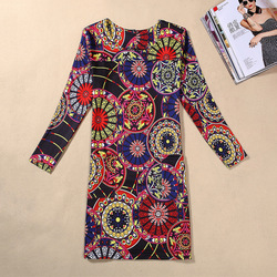 Plus Size Women Clothing Fashion Flower Print Women Dress Ladies Long Sleeve Casual Autumn Dresses