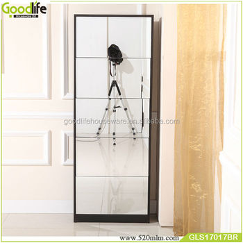 5 mirror doors shoe storage with single layerr each door