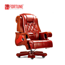 CEO Office Chair with top genuine leather and solid wood material, Antique wooden leather boss chair,Red leather chair(FOHA-05)