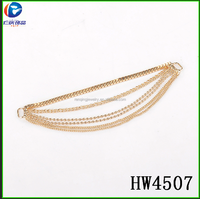hw4507 Shoes Decoration /accessories Gold Alloy Muti Layer Chains With Tassel Removable Boots Chain