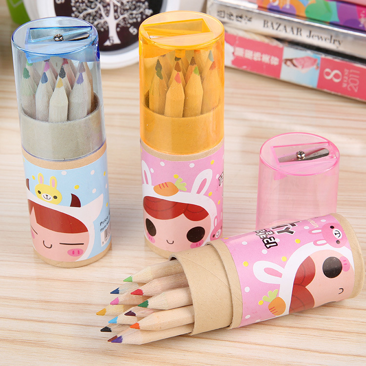 New products competitive cardboard cylinder paper box with pencil plastic sharpener lid