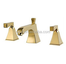 Modern Widespread Bathroom Three Holes Sink Faucet in Gold with Double Handles