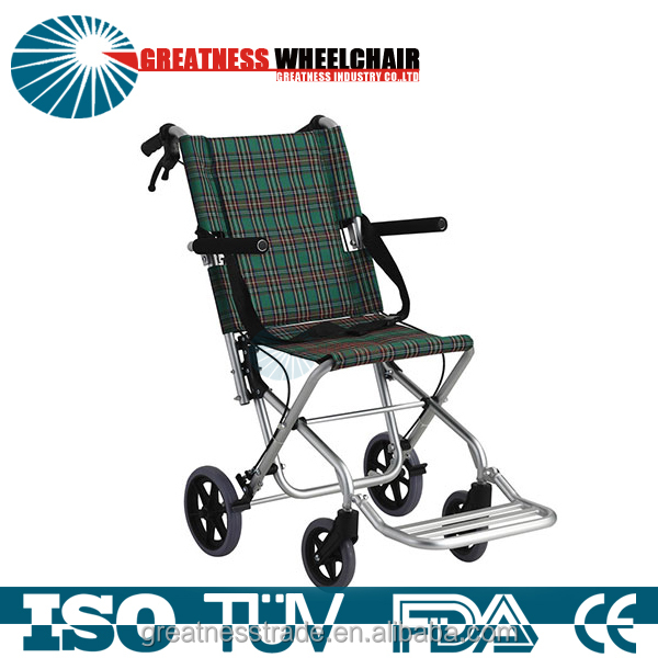 GREATNESS Super light alloy wheelchair old man cart Folding and portable Rear hand brake