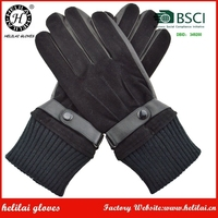 HELILAI Black sheepskin and suede leather Gloves Men hot selling short styles belt and button leather men winter gloves