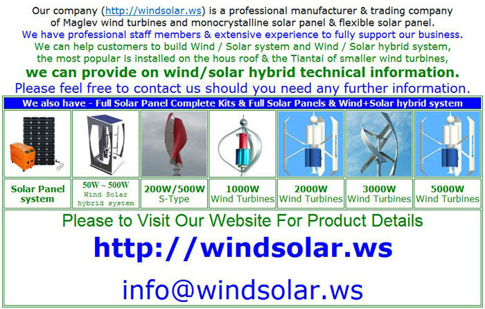 50W - 5KW Vertical Axis Maglev Wind Generator & Wind Solar hybrid power system (Most Advanced)