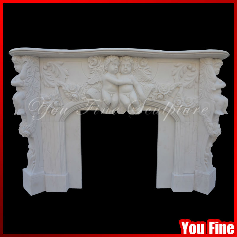 Carved marble italian fireplace mantel