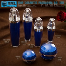 YJ-O/YB-O blue spherical container color printing OEM double layers acrylic plastic jar with screw lid