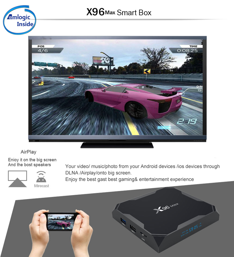 2019 New Products Amlogic S905X2 BT Dual Wifi 4GB 32GB Android 9.0 Smart TV Box X96 Max