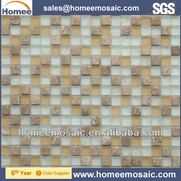 Glass mix stone mosaic tile kitchen backsplash GS32