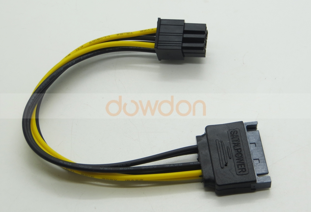 SATA 15 Pin to 6 Pin PCI Express Graphics Video Card Power Cable Adapter
