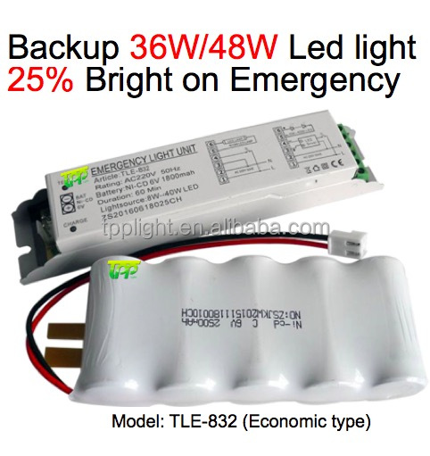 Led Emergency Conversion Kit Power Pack 1.5Hour Battery Backup LED Light 36W/48W 25% Brighness