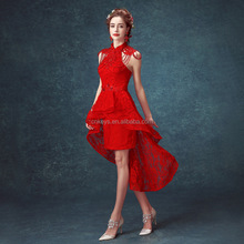 K1666A hot selling french style lace covered front short long back red beaded wedding dress