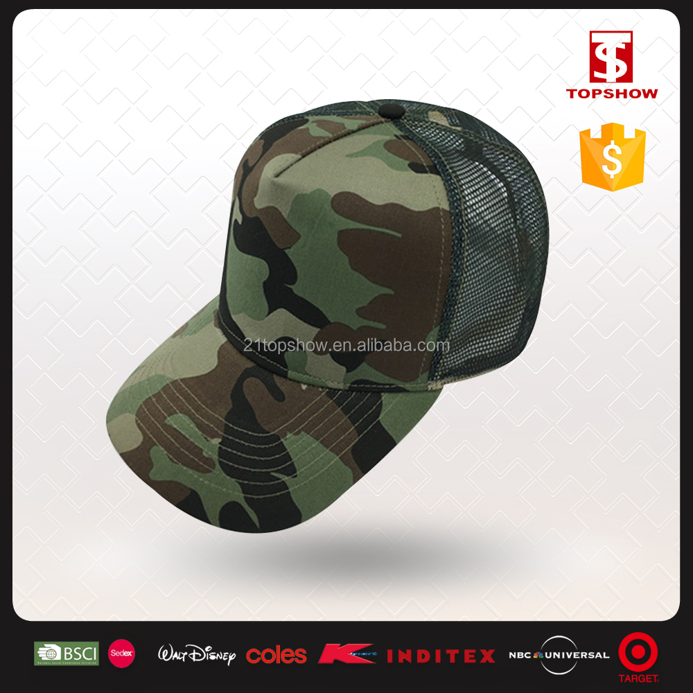 Military style dark green baseball custom camo trucker hats