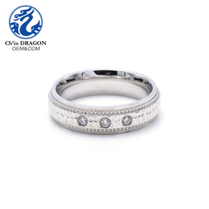 Popular polished 316l stainless steel ring with zircon for sale