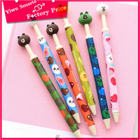 Promotional high quality 2016 china new model cute cartoon animal head design plastic crystal ball pen in stock