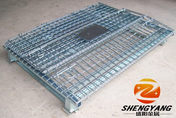 Hot recycle collapsible stillage cages galvanized metal wire mesh storage bins factory warehouse used storage cages with wheels