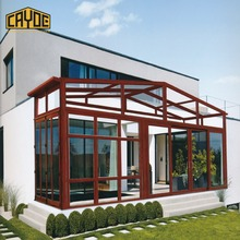 hot sale used thermal break aluminum frame glass house double curved glass sunroom