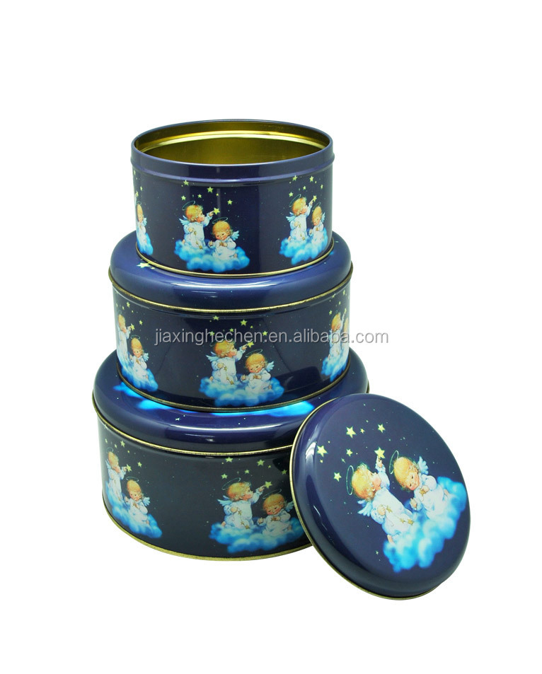 3 sets Christmas cookie tin box,biscuit cookie box packaging