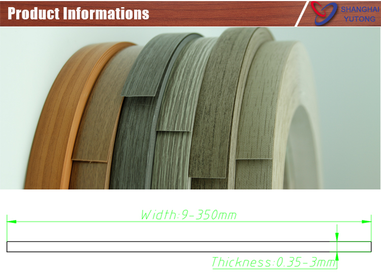 Outdoor Furniture Countertop Protective Pvc High Gloss Edge Tape For Furniture