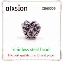AFXSION Casting jewelry beads,Fashion Stainless steel jewelry butterfly beads accessories for leather bracelet jewelry