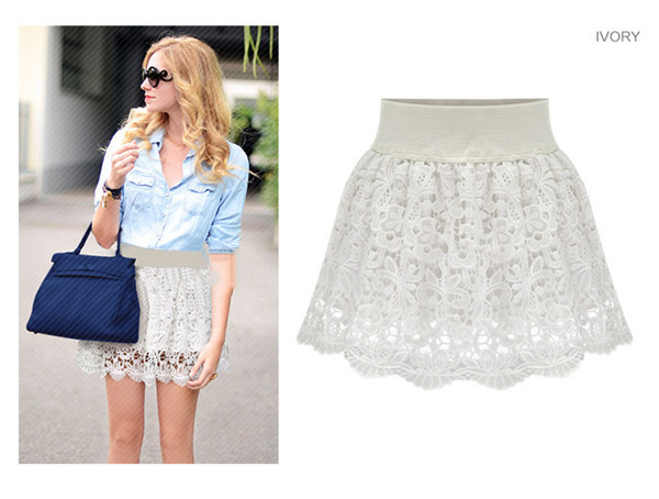 Woman Lace Skirts Summer 2015 Fashion Slim Solid Sexy Skirt Lace Embroidery Short Skirt Large Size Women Summer Lace Skirts Hot