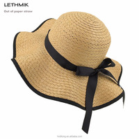 High Quality Bright Foldable Promotional Straw Floppy Hat for Women in Summer