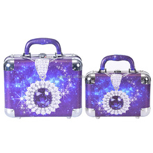 2pc/ set Portable Jewelry Box Make Up Organizer Travel Makeup Cosmetic Organizer Container Suitcase Cosmetic Case