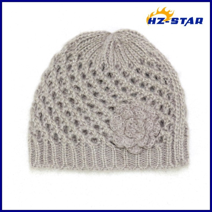 HZM-11003012 wholesale children hand made knit hat with flower