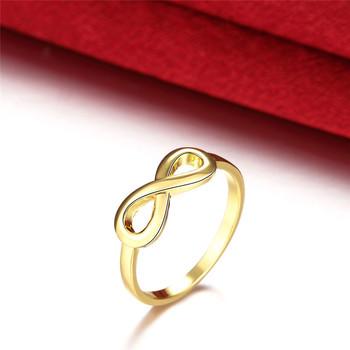 New Design Hot Sale Fashion Real Silver Rings Gold Color Infinity Ring Statement jewelry Wholesale for women Jewelry