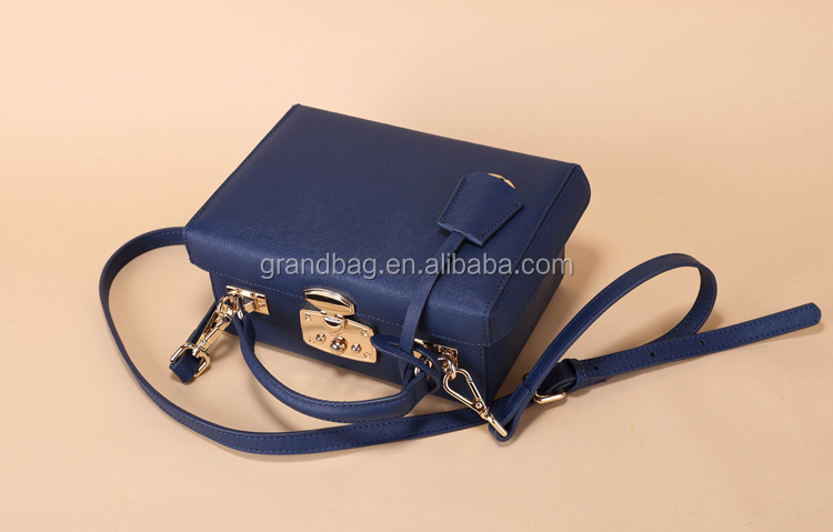 genuine saffiano leather structured box bag with handle and shoulder strap