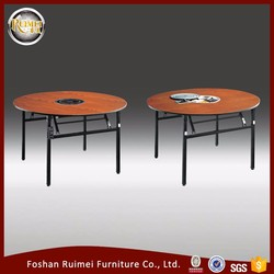 Hot sale high quality folding wooden top for party furniture round restaurant hot pot table