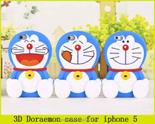 wholesale cute 3D Doraemon silicone cell phone case for iphone 5