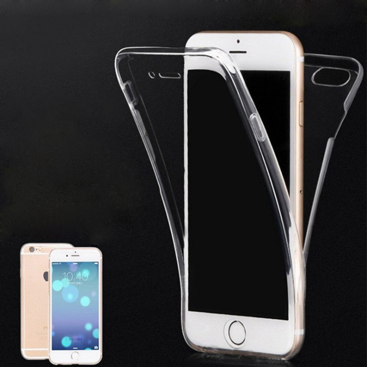 Popular item 360 degree full cover soft tpu transparent for iphone 7 plus case front back