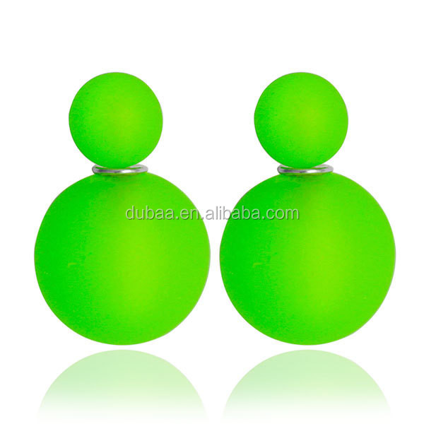 Beads Elegant Double Sides Round Two Ball Ear Stud Plug Earrings Pierced