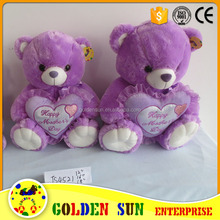 High quality beautiful purple color plush teddy bear toy