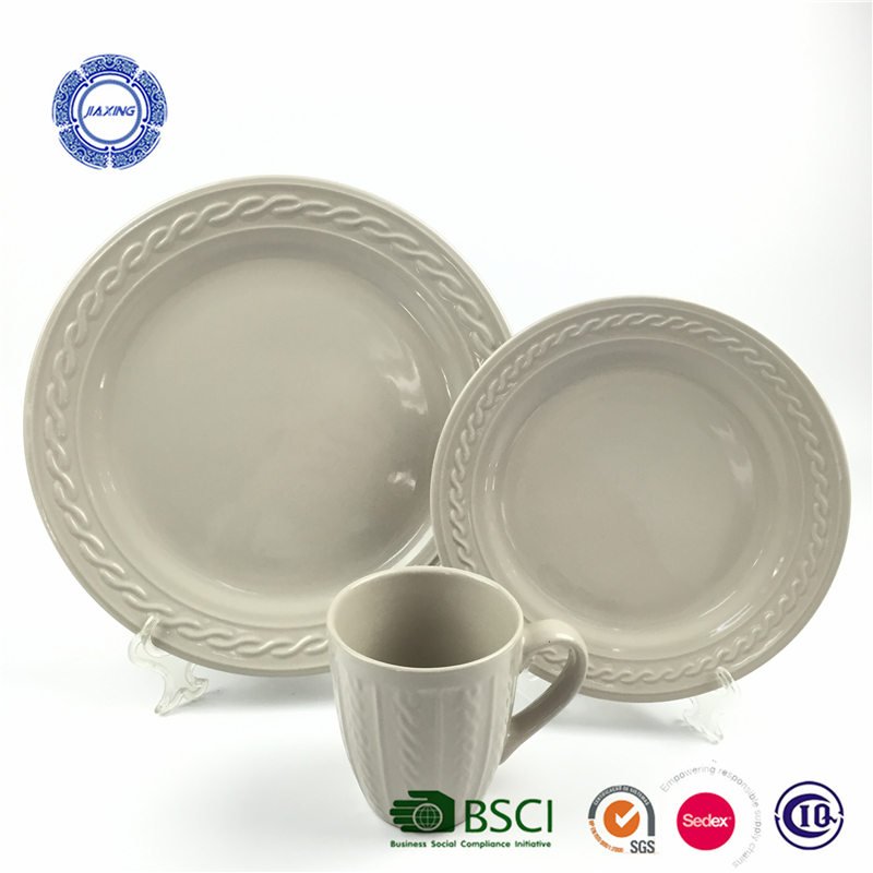 American style embossed glaze dinner set made in china