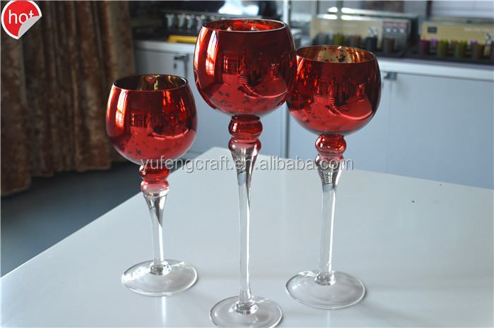 online hot selling red goblet long sticked wedding candle holders